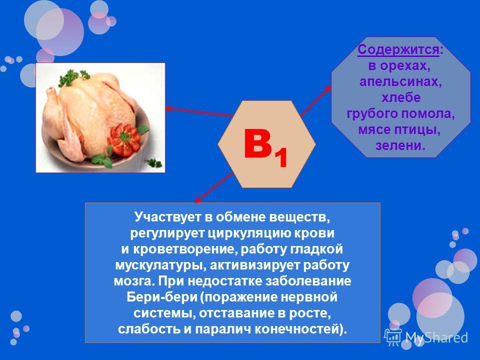 Участвует в обмене веществ, регулирует циркуляцию крови и кроветворение, работу гладкой мускулатуры, активизирует работу мозга. При недостатке заболевание Бери-бери (поражение нервной системы, отставание в росте, слабость и паралич конечностей). Соде