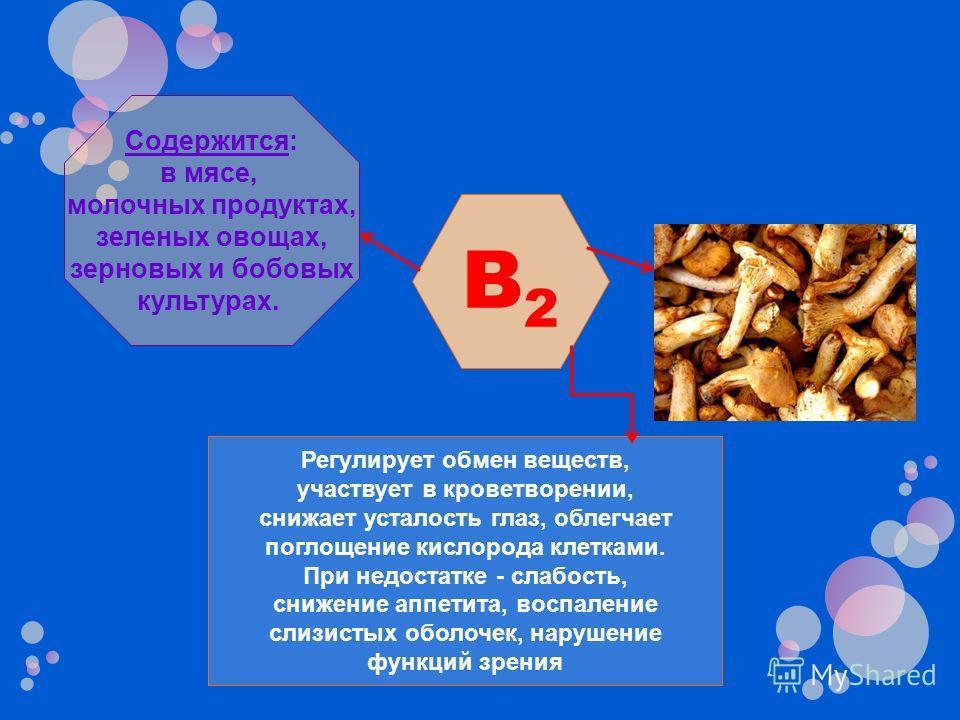 B2B2 Регулирует обмен веществ, участвует в кроветворении, снижает усталость глаз, облегчает поглощение кислорода клетками. При недостатке - слабость, снижение аппетита, воспаление слизистых оболочек, нарушение функций зрения Содержится: в мясе, молоч