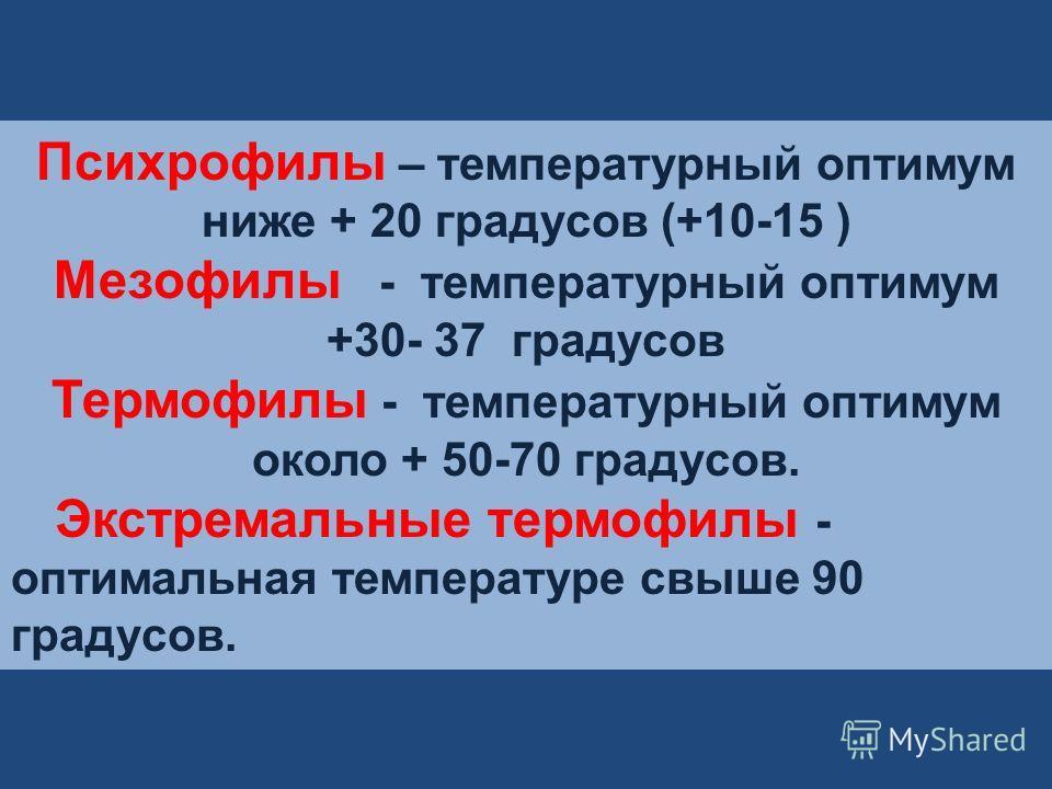 Психрофилы – температурный оптимум ниже + 20 градусов (+10-15 ) Мезофилы - температурный оптимум +30- 37 градусов Термофилы - температурный оптимум около + 50-70 градусов. Экстремальные термофилы - оптимальная температуре свыше 90 градусов.