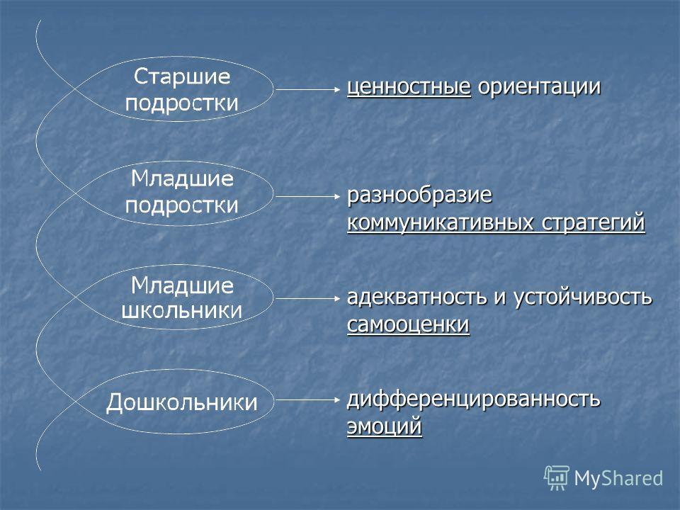 ценностные ориентации разнообразие коммуникативных стратегий адекватность и устойчивость самооценки дифференцированность эмоций