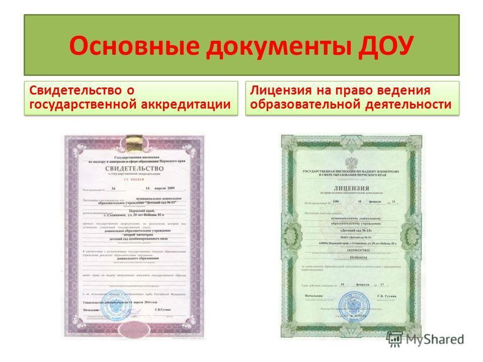 Основные документы ДОУ Свидетельство о государственной аккредитации Лицензия на право ведения образовательной деятельности
