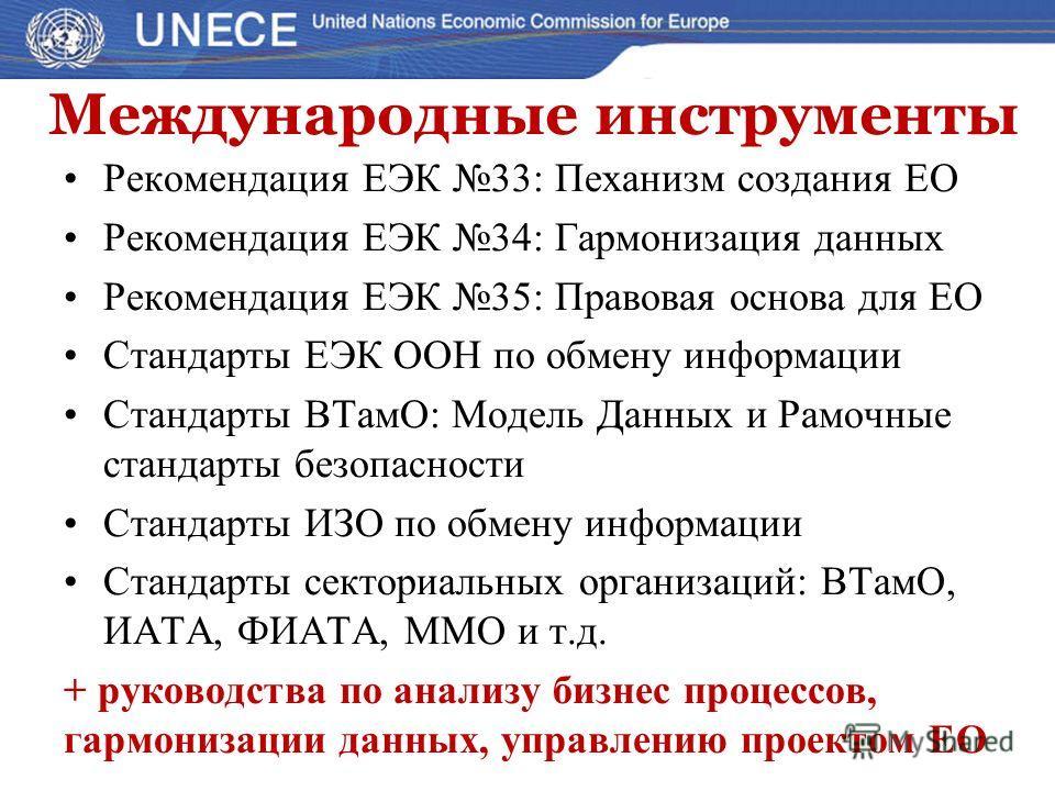 Международные инструменты Рекомендация ЕЭК 33: Пеханизм создания ЕО Рекомендация ЕЭК 34: Гармонизация данных Рекомендация ЕЭК 35: Правовая основа для ЕО Стандарты ЕЭК ООН по обмену информации Стандарты ВТамО: Модель Данных и Рамочные стандарты безопа