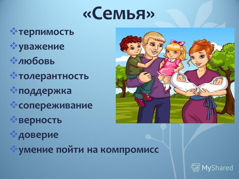 «Семья» терпимость уважение любовь толерантность поддержка сопереживание верность доверие умение пойти на компромисс