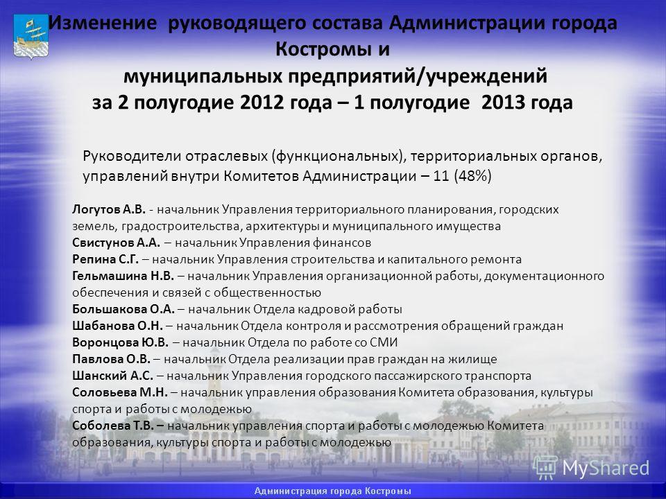 Изменение руководящего состава Администрации города Костромы и муниципальных предприятий/учреждений за 2 полугодие 2012 года – 1 полугодие 2013 года Руководители отраслевых (функциональных), территориальных органов, управлений внутри Комитетов Админи