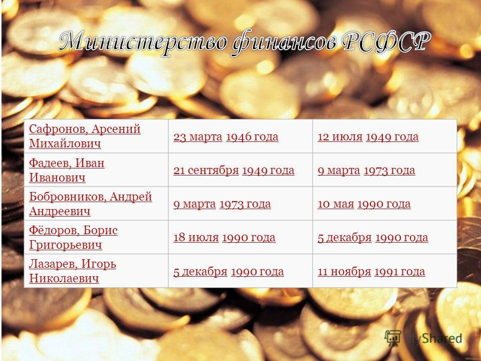 Сафронов, Арсений Михайлович 23 марта23 марта 1946 года1946 года12 июля12 июля 1949 года1949 года Фадеев, Иван Иванович 21 сентября21 сентября 1949 года1949 года9 марта9 марта 1973 года1973 года Бобровников, Андрей Андреевич 9 марта9 марта 1973 года1