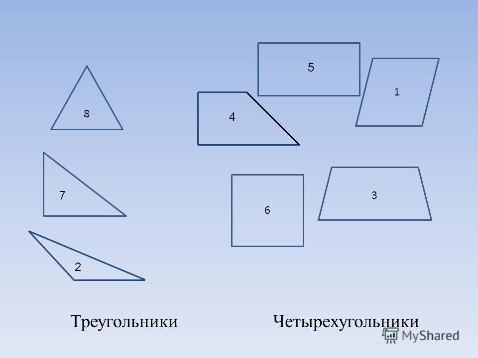 1 3 4 5 6 ЧетырехугольникиТреугольники 2 7 8
