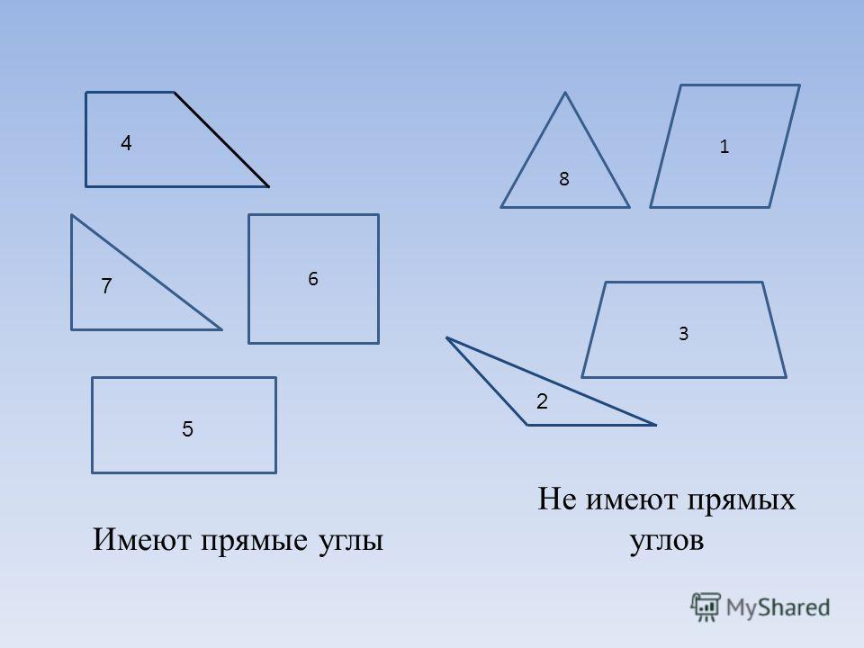 1 3 4 5 6 Не имеют прямых углов Имеют прямые углы 2 7 8
