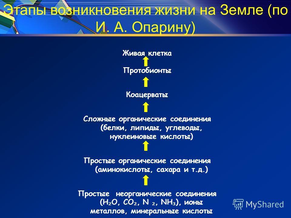 Этапы возникновения жизни на Земле (по И. А. Опарину) Живая клетка Протобионты Коацерваты Сложные органические соединения (белки, липиды, углеводы, нуклеиновые кислоты) Простые органические соединения (аминокислоты, сахара и т.д.) Простые неорганичес