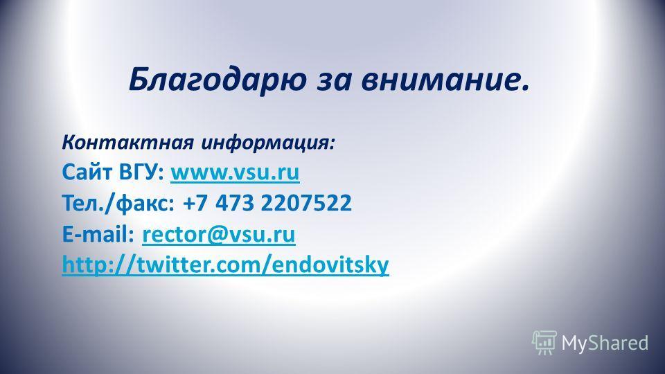 Благодарю за внимание. Контактная информация: Сайт ВГУ: www.vsu.ru Тел./факс: +7 473 2207522 E-mail: rector@vsu.ru http://twitter.com/endovitskywww.vsu.rurector@vsu.ru http://twitter.com/endovitsky