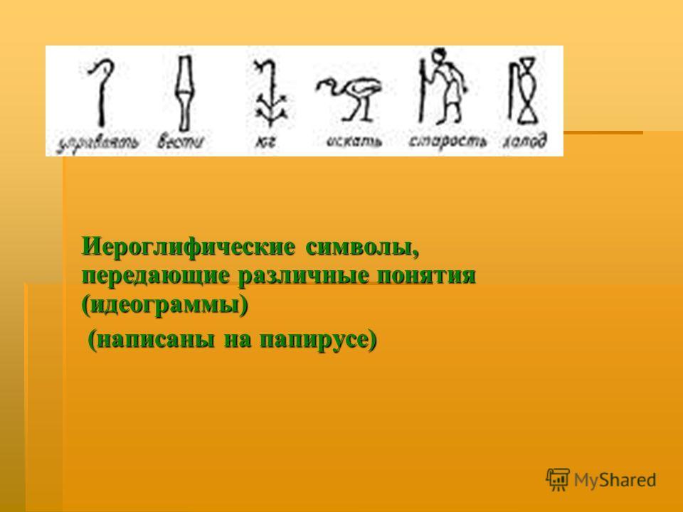 Иероглифические символы, передающие различные понятия ( идеограммы ) ( написаны на папирусе ) ( написаны на папирусе )