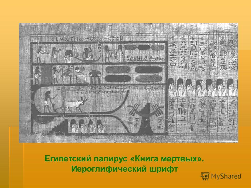 Египетский папирус «Книга мертвых». Иероглифический шрифт