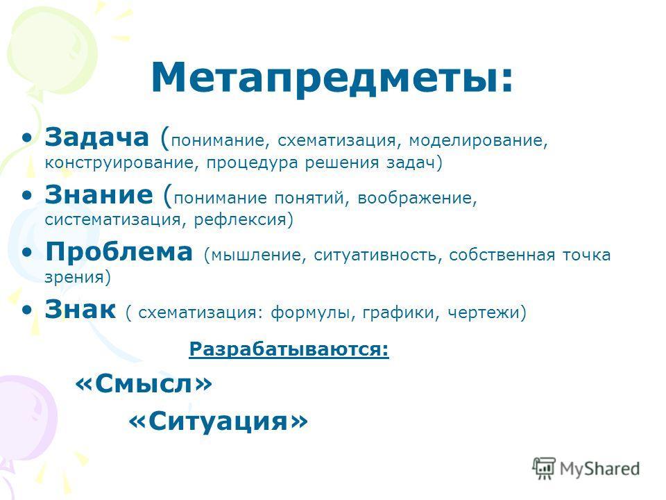 Метапредметы: Задача ( понимание, схематизация, моделирование, конструирование, процедура решения задач) Знание ( понимание понятий, воображение, систематизация, рефлексия) Проблема (мышление, ситуативность, собственная точка зрения) Знак ( схематиза