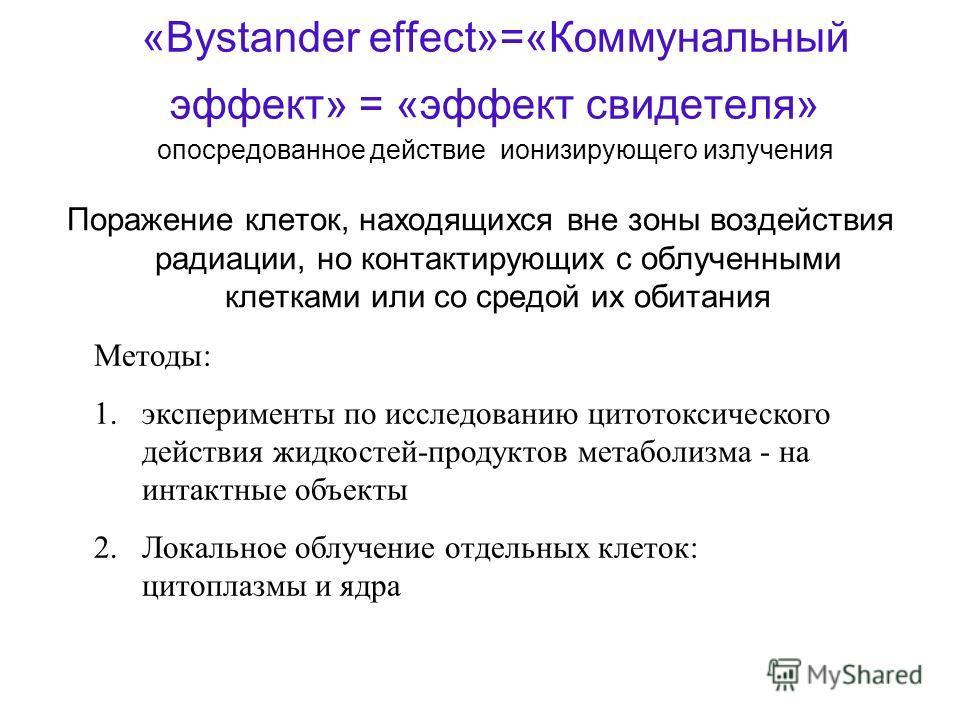 «Bystander effect»=«Коммунальный эффект» = «эффект свидетеля» опосредованное действие ионизирующего излучения Поражение клеток, находящихся вне зоны воздействия радиации, но контактирующих с облученными клетками или со средой их обитания Методы: 1.эк