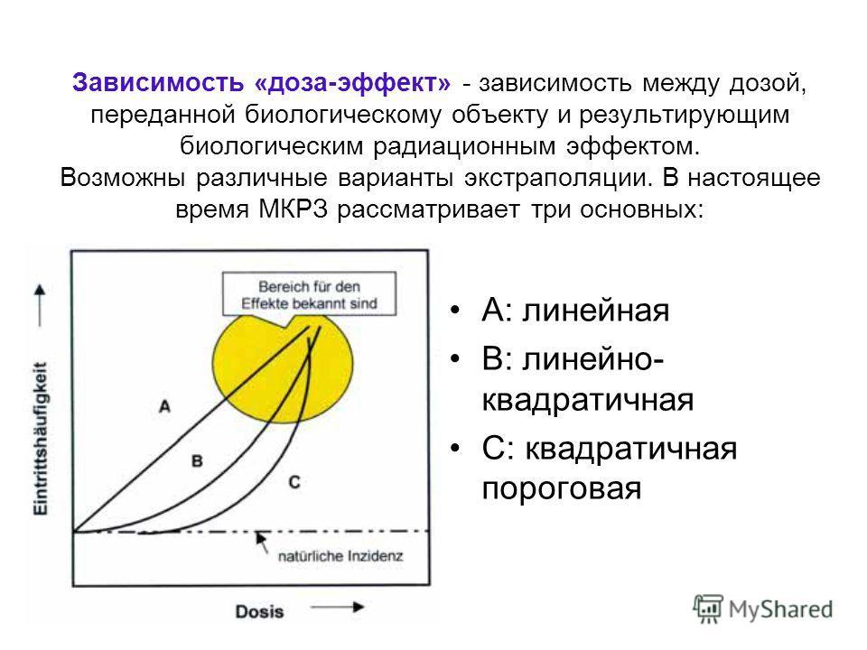 Зависимость «доза-эффект» - зависимость между дозой, переданной биологическому объекту и результирующим биологическим радиационным эффектом. Возможны различные варианты экстраполяции. В настоящее время МКРЗ рассматривает три основных: A: линейная B: