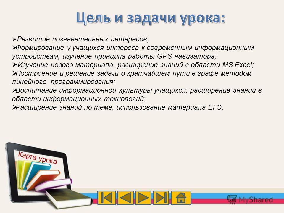 Развитие познавательных интересов; Формирование у учащихся интереса к современным информационным устройствам, изучение принципа работы GPS-навигатора; Изучение нового материала, расширение знаний в области MS Excel; Построение и решение задачи о крат