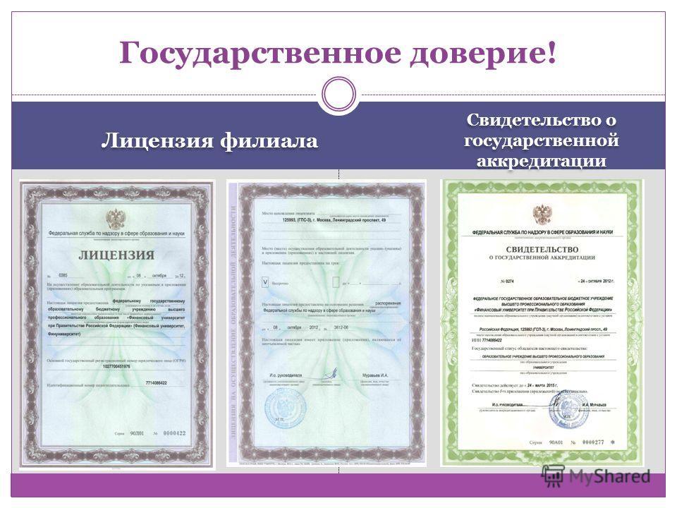 Лицензия филиала Свидетельство о государственной аккредитации Государственное доверие!