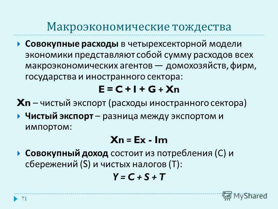 Макроэкономические тождества 71 Совокупные расходы в четырехсекторной модели экономики представляют собой сумму расходов всех макроэкономических агентов домохозяйств, фирм, государства и иностранного сектора : E = C + I + G + Xn Xn – чистый экспорт (