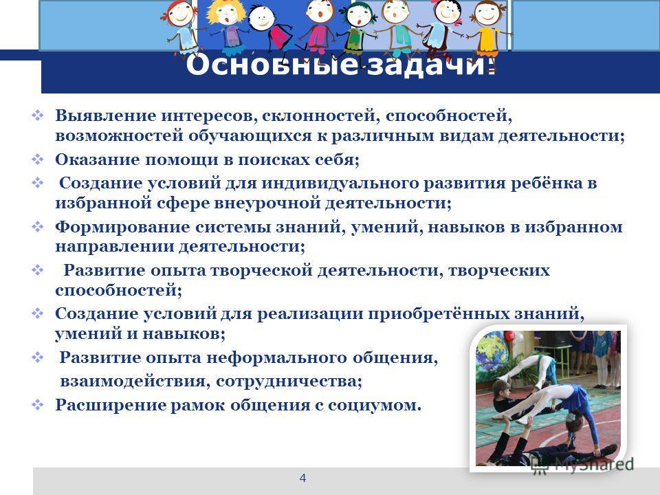 L o g o Основные задачи: Выявление интересов, склонностей, способностей, возможностей обучающихся к различным видам деятельности; Оказание помощи в поисках себя; Создание условий для индивидуального развития ребёнка в избранной сфере внеурочной деяте