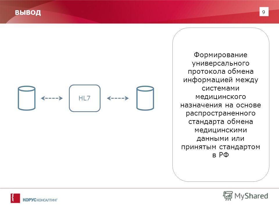 9 ВЫВОД Формирование универсального протокола обмена информацией между системами медицинского назначения на основе распространенного стандарта обмена медицинскими данными или принятым стандартом в РФ HL7