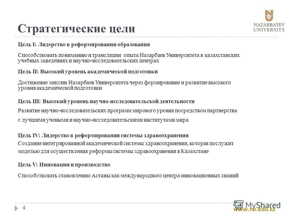 Стратегические цели 4 Цель I: Лидерство в реформировании образования Способствовать пониманию и трансляции опыта Назарбаев Университета в казахстанских учебных заведениях и научно-исследовательских центрах Цель II: Высокий уровень академической подго