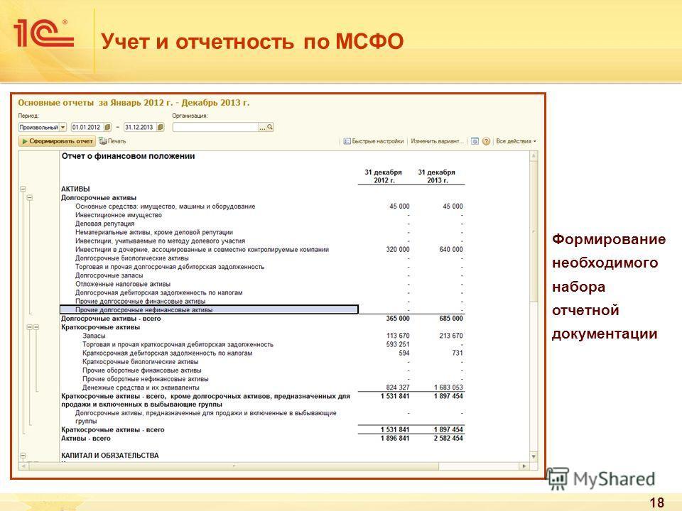 18 Учет и отчетность по МСФО Формирование необходимого набора отчетной документации