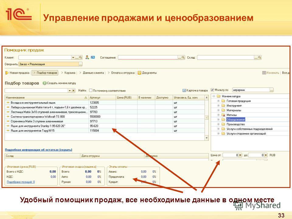 33 Расширенные инструменты для анализа эффективности сделки Управление продажами и ценообразованием Удобный помощник продаж, все необходимые данные в одном месте