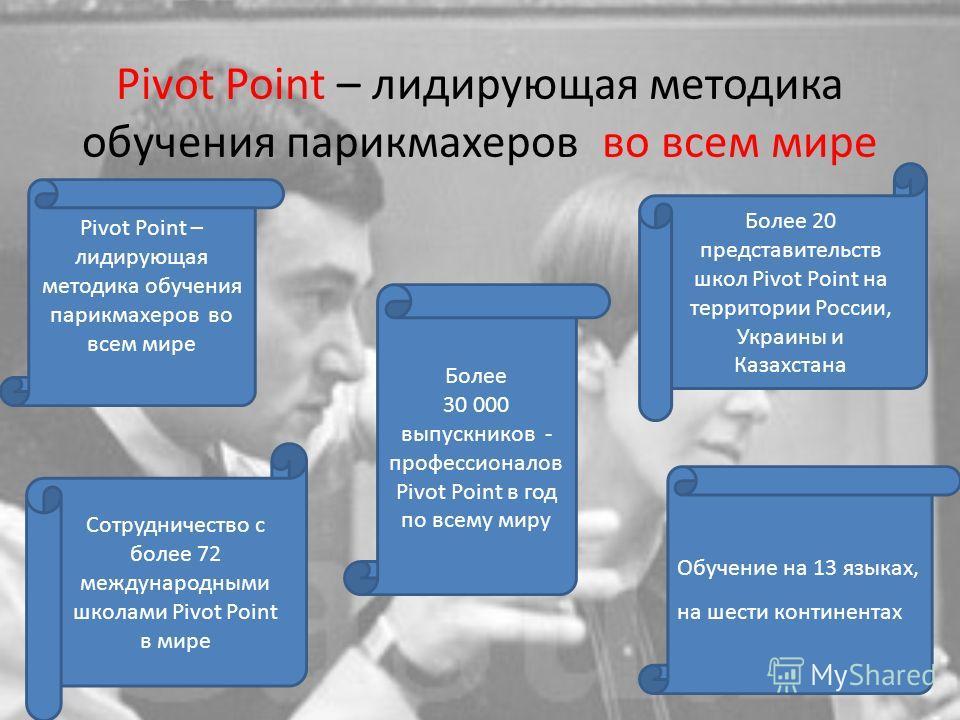 Сотрудничество с более 72 международными школами Pivot Point в мире Обучение на 13 языках, на шести континентах Более 20 представительств школ Pivot Point на территории России, Украины и Казахстана Более 30 000 выпускников - профессионалов Pivot Poin