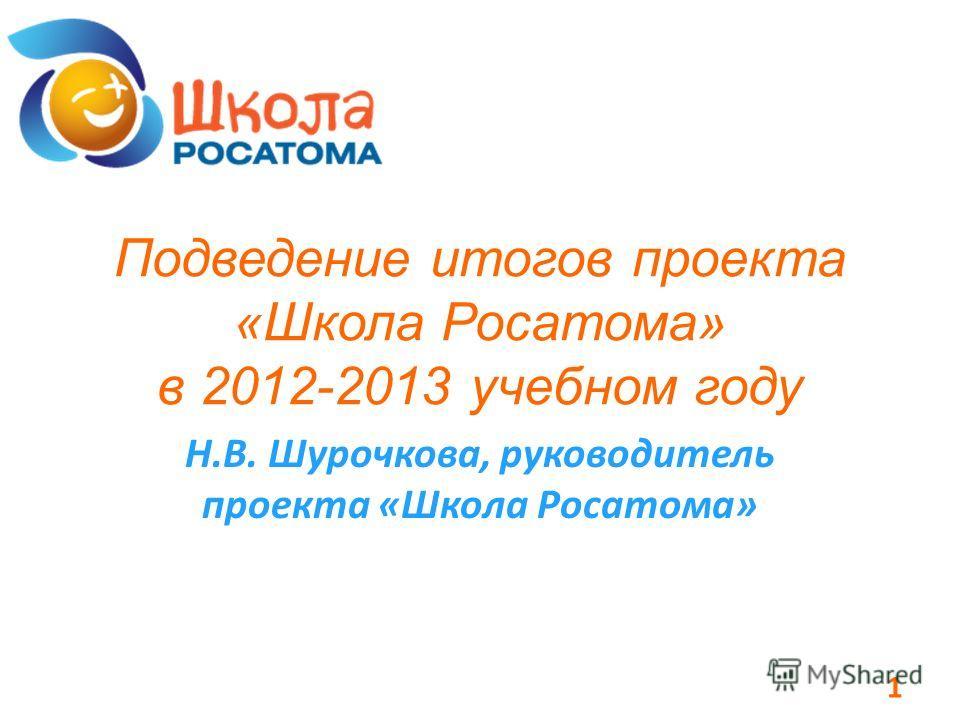 Подведение итогов проекта «Школа Росатома» в 2012-2013 учебном году Н.В. Шурочкова, руководитель проекта «Школа Росатома» 1