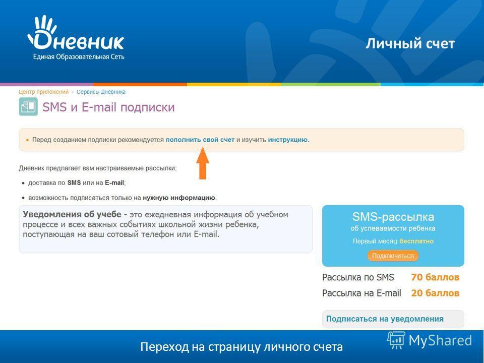 Личный счет Переход на страницу личного счета