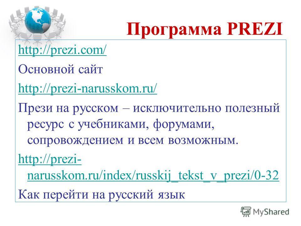 Программа PREZI http://prezi.com/ Основной сайт http://prezi-narusskom.ru/ Прези на русском – исключительно полезный ресурс с учебниками, форумами, сопровождением и всем возможным. http://prezi- narusskom.ru/index/russkij_tekst_v_prezi/0-32 Как перей