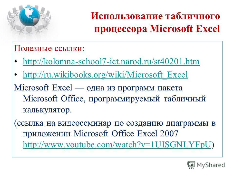 Использование табличного процессора Microsoft Excel Полезные ссылки: http://kolomna-school7-ict.narod.ru/st40201.htm http://ru.wikibooks.org/wiki/Microsoft_Excel Microsoft Excel одна из программ пакета Microsoft Office, программируемый табличный каль