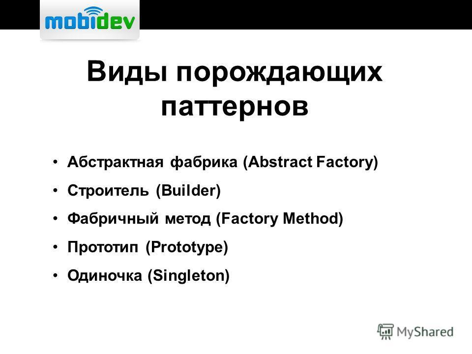 Виды порождающих паттернов Абстрактная фабрика (Abstract Factory) Строитель (Builder) Фабричный метод (Factory Method) Прототип (Prototype) Одиночка (Singleton)