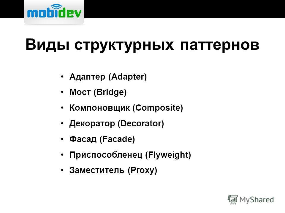 Виды структурных паттернов Адаптер (Adapter) Мост (Bridge) Компоновщик (Composite) Декоратор (Decorator) Фасад (Facade) Приспособленец (Flyweight) Заместитель (Proxy)