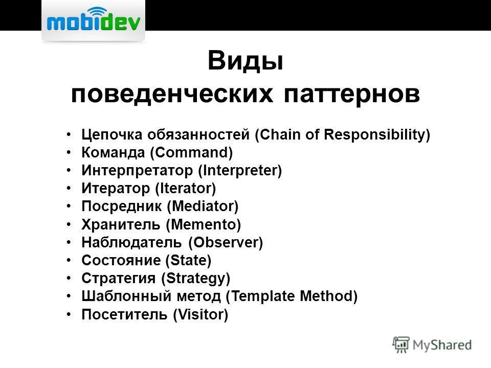 Виды поведенческих паттернов Цепочка обязанностей (Chain of Responsibility) Команда (Command) Интерпретатор (Interpreter) Итератор (Iterator) Посредник (Mediator) Хранитель (Memento) Наблюдатель (Observer) Состояние (State) Стратегия (Strategy) Шабло