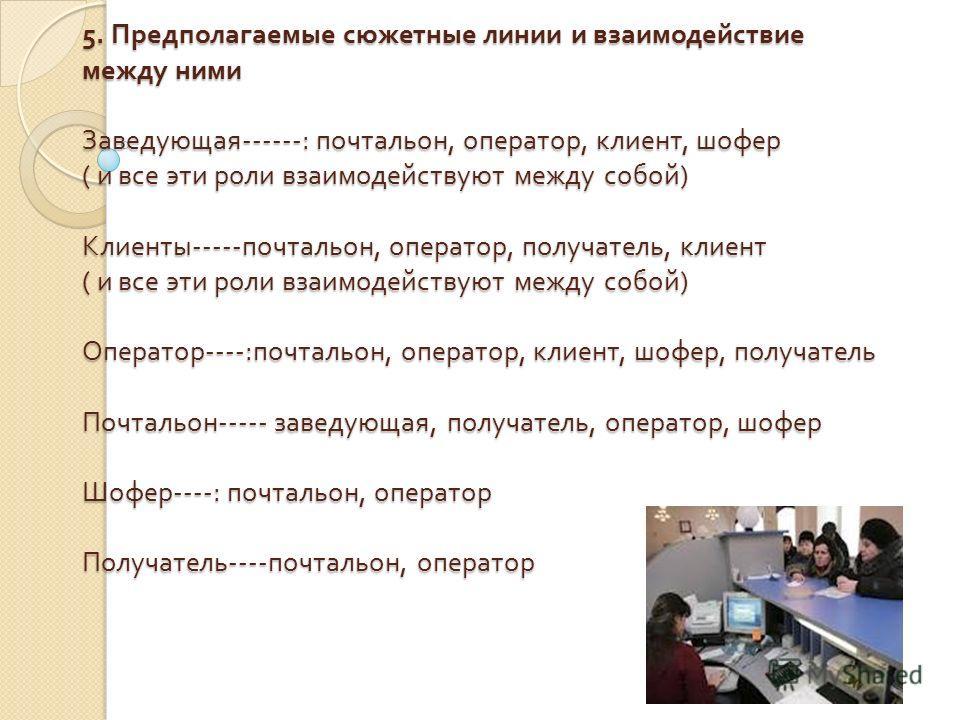 5. Предполагаемые сюжетные линии и взаимодействие между ними Заведующая ------: почтальон, оператор, клиент, шофер ( и все эти роли взаимодействуют между собой ) Клиенты ----- почтальон, оператор, получатель, клиент ( и все эти роли взаимодействуют м