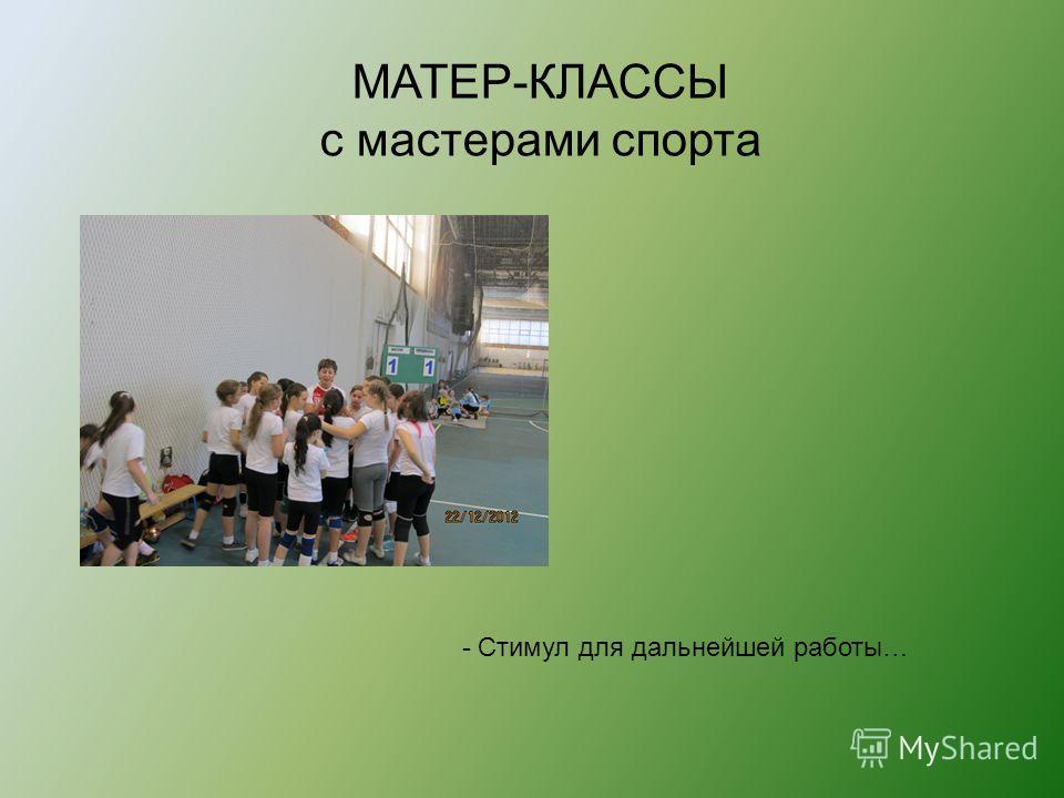 МАТЕР-КЛАССЫ с мастерами спорта - Стимул для дальнейшей работы…