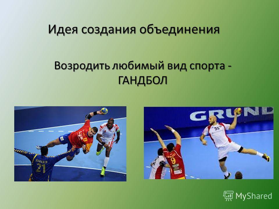 Идея создания объединения Возродить любимый вид спорта - ГАНДБОЛ