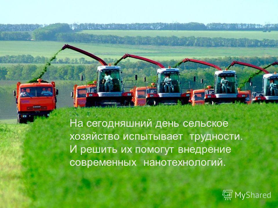 На сегодняшний день сельское хозяйство испытывает трудности. И решить их помогут внедрение современных нанотехнологий.
