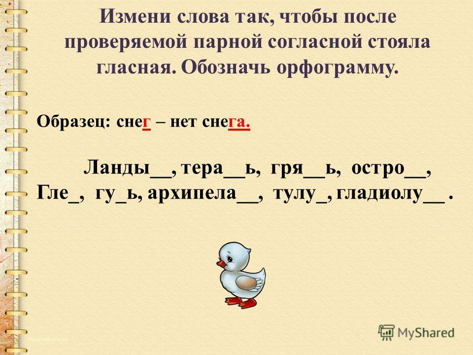 Измени слова так, чтобы после проверяемой парной согласной стояла гласная. Обозначь орфограмму. Образец: снег – нет снега. Ланды__, тера__ь, гря__ь, остро__, Гле_, гу_ь, архипела__, тулу_, гладиолу__.