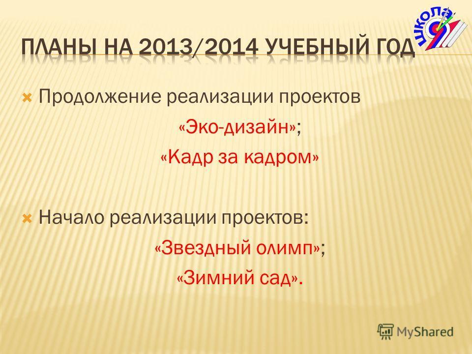 Продолжение реализации проектов «Эко-дизайн»; «Кадр за кадром» Начало реализации проектов: «Звездный олимп»; «Зимний сад».