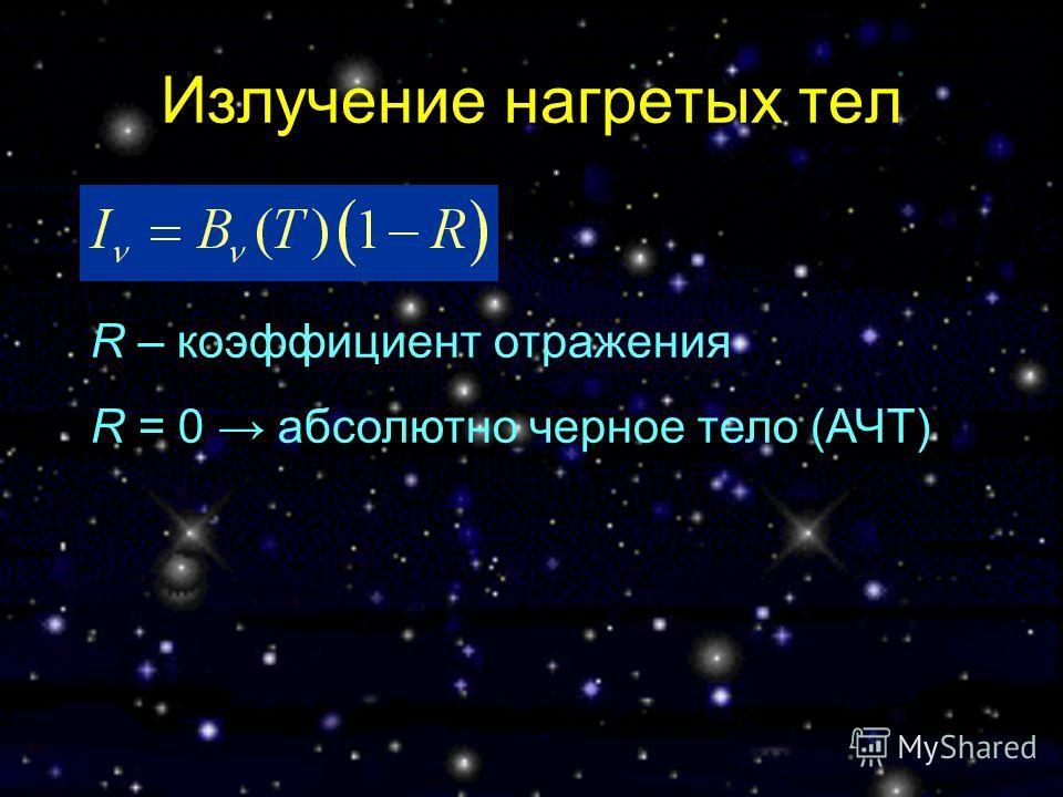 Излучение нагретых тел R – коэффициент отражения R = 0 абсолютно черное тело (АЧТ)