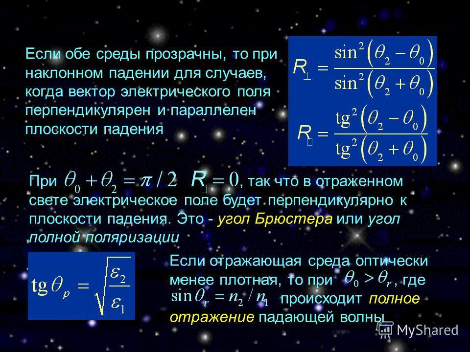 Если обе среды прозрачны, то при наклонном падении для случаев, когда вектор электрического поля перпендикулярен и параллелен плоскости падения При, так что в отраженном свете электрическое поле будет перпендикулярно к плоскости падения. Это - угол Б