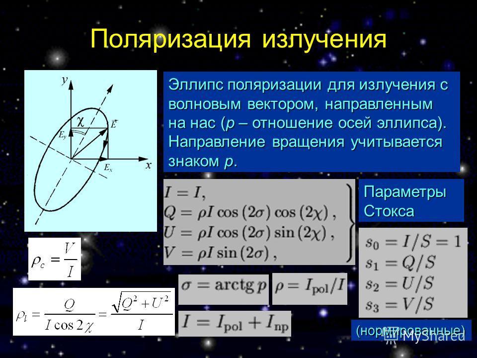 Поляризация излучения Параметры Стокса Эллипс поляризации для излучения с волновым вектором, направленным на нас (p – отношение осей эллипса). Направление вращения учитывается знаком p. (нормированные)