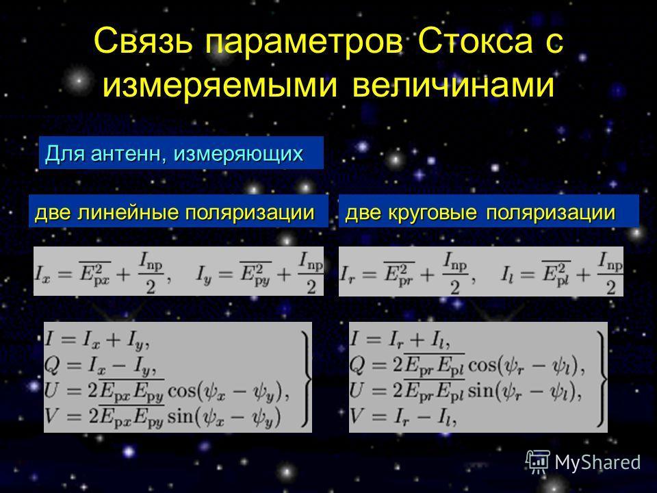 Связь параметров Стокса с измеряемыми величинами Для антенн, измеряющих две линейные поляризации две круговые поляризации