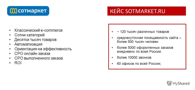 Классический e-commerce Сотни категорий Десятки тысяч товаров Автоматизация Ориентация на эффективность CPO онлайн заказа CPO выполненного заказа ROI ~ 120 тысяч различных товаров среднесуточная посещаемость сайта – более 500 тысяч человек более 5000