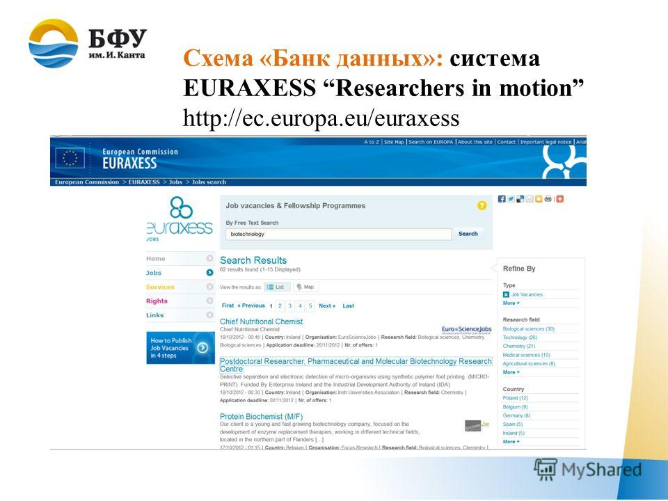 Схема «Банк данных»: система EURAXESS Researchers in motion http://ec.europa.eu/euraxess