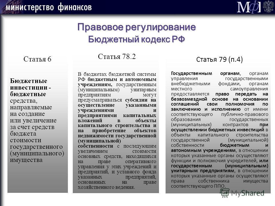 Правовое регулирование Бюджетный кодекс РФ Статья 6 Бюджетные инвестиции - бюджетные средства, направляемые на создание или увеличение за счет средств бюджета стоимости государственного (муниципального) имущества Статья 78.2 В бюджетах бюджетной сист