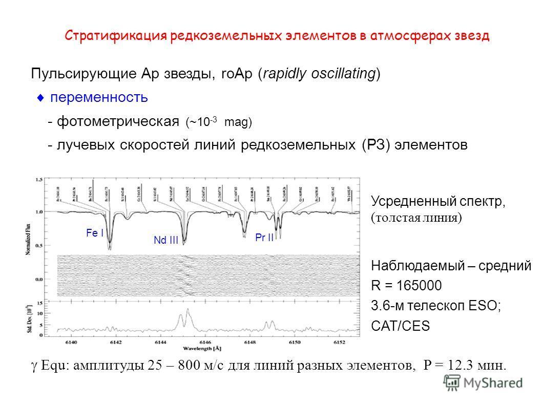 Стратификация редкоземельных элементов в атмосферах звезд Пульсирующие Ар звезды, roAp (rapidly oscillating) переменность - фотометрическая (~10 -3 mag) - лучевых скоростей линий редкоземельных (РЗ) элементов Усредненный спектр, (толстая линия) Наблю