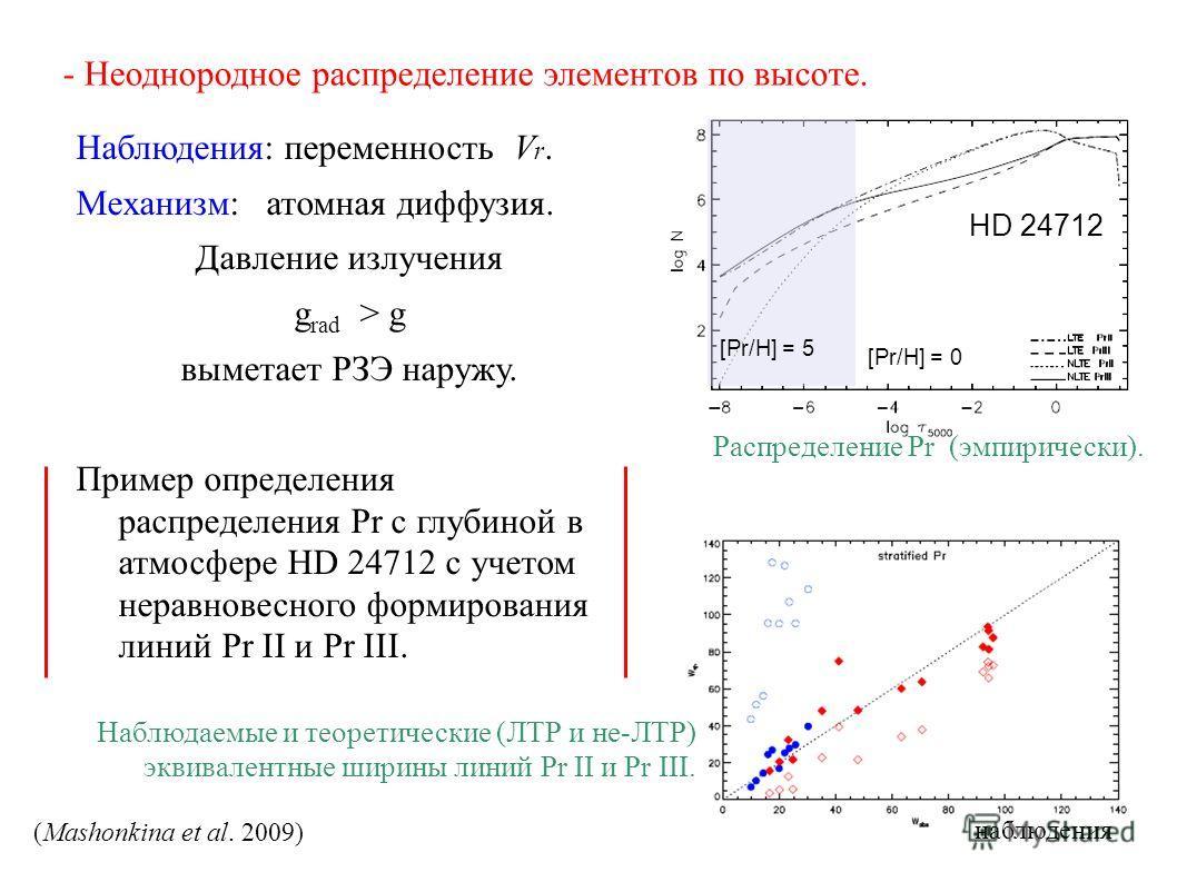 - Неоднородное распределение элементов по высоте. Наблюдения: переменность V r. Механизм: атомная диффузия. Давление излучения g rad > g выметает РЗЭ наружу. Пример определения распределения Pr с глубиной в атмосфере HD 24712 с учетом неравновесного