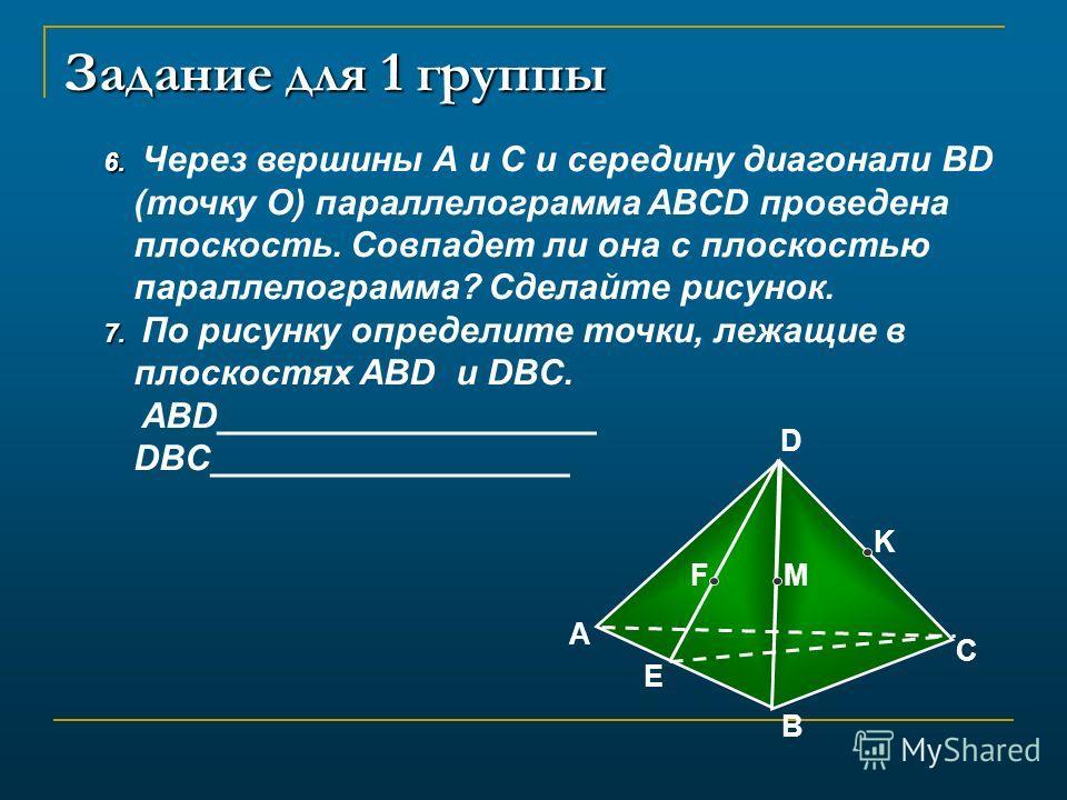 Задание для 1 группы 6. 6. Через вершины А и С и середину диагонали BD (точку О) параллелограмма ABCD проведена плоскость. Совпадет ли она с плоскостью параллелограмма? Сделайте рисунок. 7. 7. По рисунку определите точки, лежащие в плоскостях ABD и D
